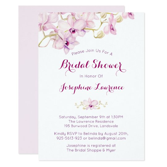 Purple Orchid Watercolor Bridal Shower Invitation