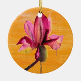 Purple Orchid watercolour orange pop art flower Christmas Tree Ornaments