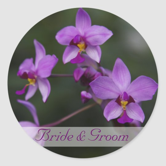 Purple Orchid Wedding Stickers