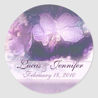 purple orchids n linen save the date round sticker
