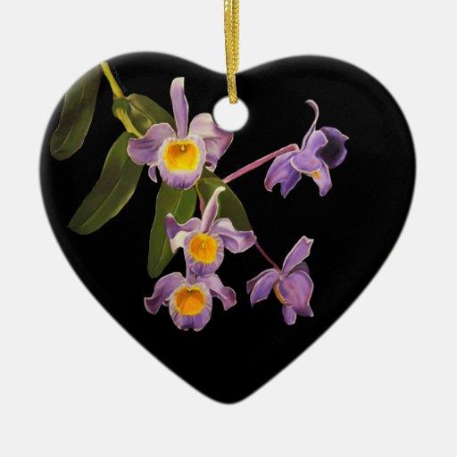 Purple Orchids Oil on Canvas Ornament
