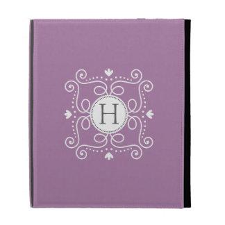 Purple ornament personalized monogram initial iPad folio cover