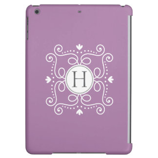 Purple ornament personalized monogram initial case for iPad air