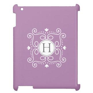 Purple ornament personalized monogram initial iPad cases