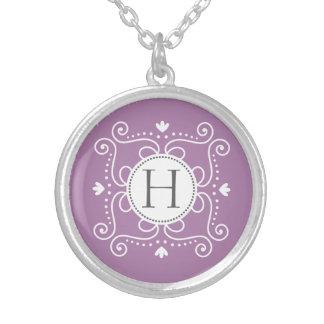 Purple ornament personalized monogram initial custom jewelry