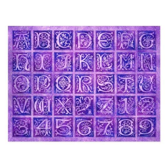 Purple Ornamental Alphabet and Numbers Postcard