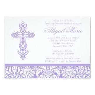 Purple Ornate Cross Damask Girl First Communion Card