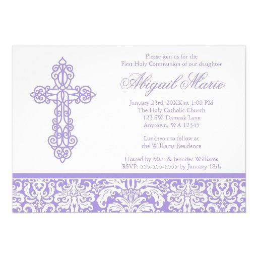 Purple Ornate Cross Damask Girl First Communion Cards