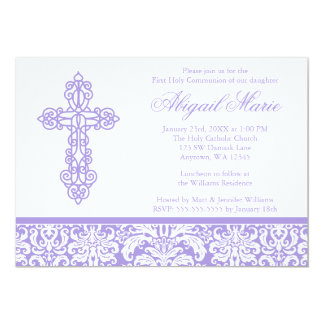 Purple Ornate Cross Damask Girl First Communion 5x7 Paper Invitation Card