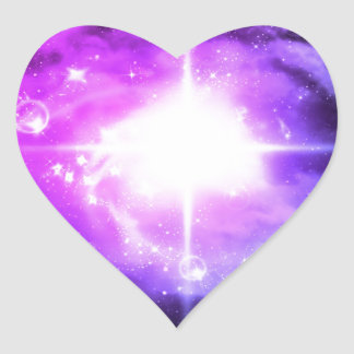 Purple Outer Space Heart Sticker