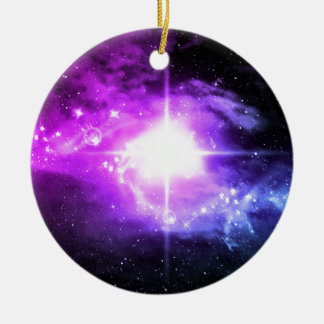 Purple Outer Space Round Ceramic Decoration