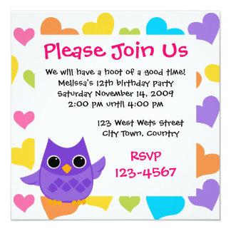Purple Owl 13 Cm X 13 Cm Square Invitation Card