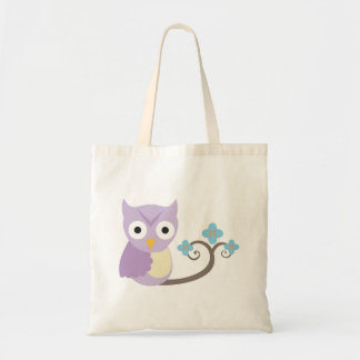 Purple Owl and Blue Flowers Girls Tote Tote Bags