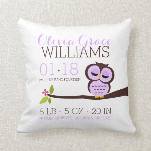 Purple Owl Baby Birth Announcement Throw Pillow