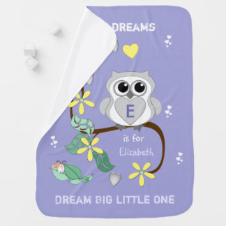 Purple Owl Baby Blanket Dream Big Little One