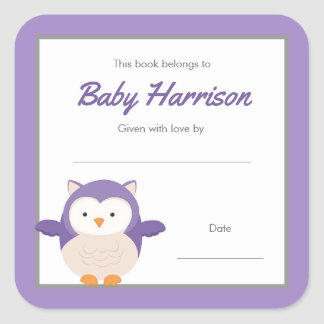 Purple Owl Baby Shower Bookplate, girl book Square Sticker