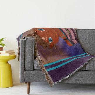 Purple owl butterfly girl throw blanket