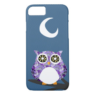 Purple Owl Chilling at Night on A Tree Branch iPhone 7 Case