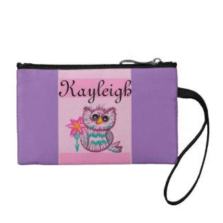 Purple owl customized coin purse
