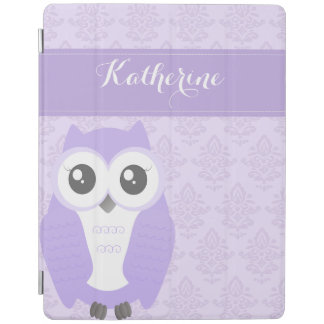 Purple Owl Damask ipad cover