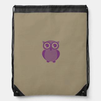 Purple Owl Drawstring Backpack