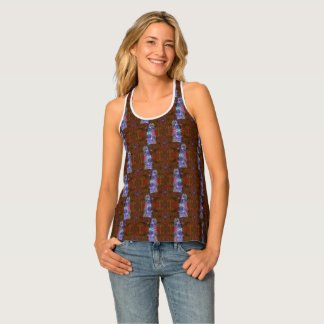 Purple Owl Nature Patterned Tank Top