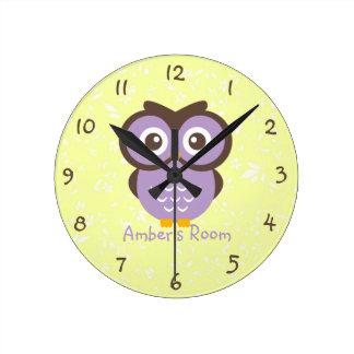Purple Owl Personalized Kids Bedroom Round Clock