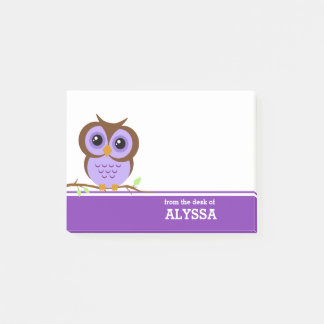 Purple Owl Personalized Post-it Notes