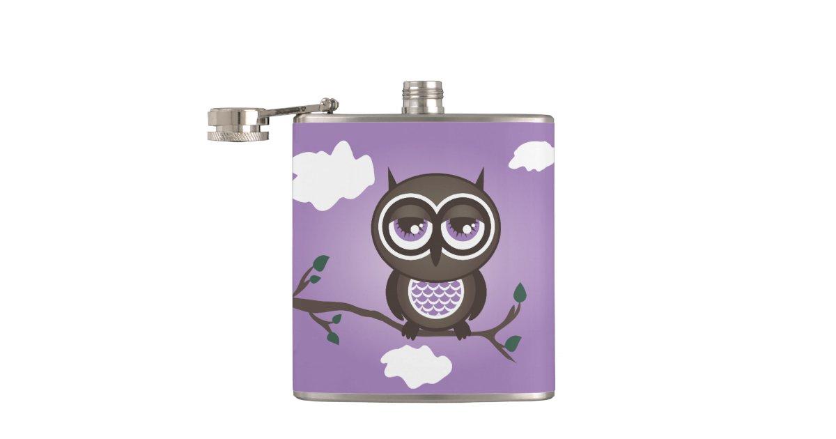 Purple Owl Sitting on a Branch Flask | Zazzle