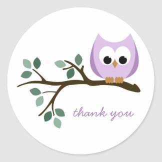 Purple Owl Thank You Stickers