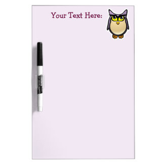 Purple Owl With Big Eyelashes Cartoon Dry-Erase Whiteboards