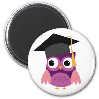 Purple Owl with Cap Graduation Magnets