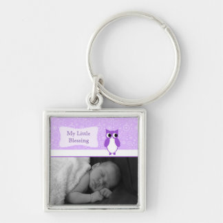 Purple Owl with Retro Circles New Baby Photo Key Chains