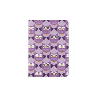 Purple Owls Passport Holder