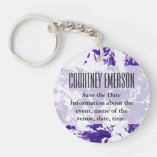 Purple Paint Double-Sided Round Acrylic Key Ring