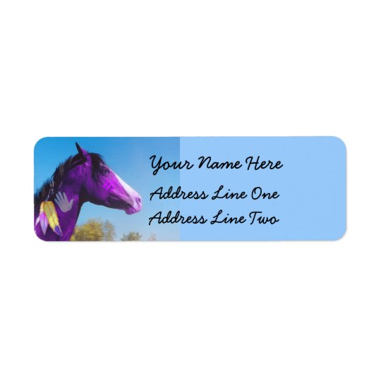 Purple Paint horse War pony Return Address Labels