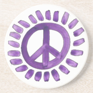 purple painted peace sign Coaster