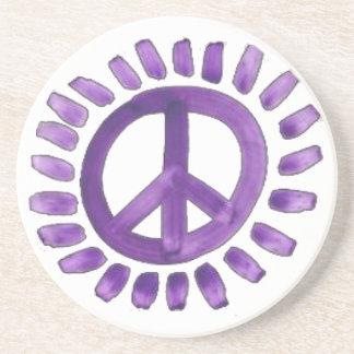purple painted peace sign Coaster