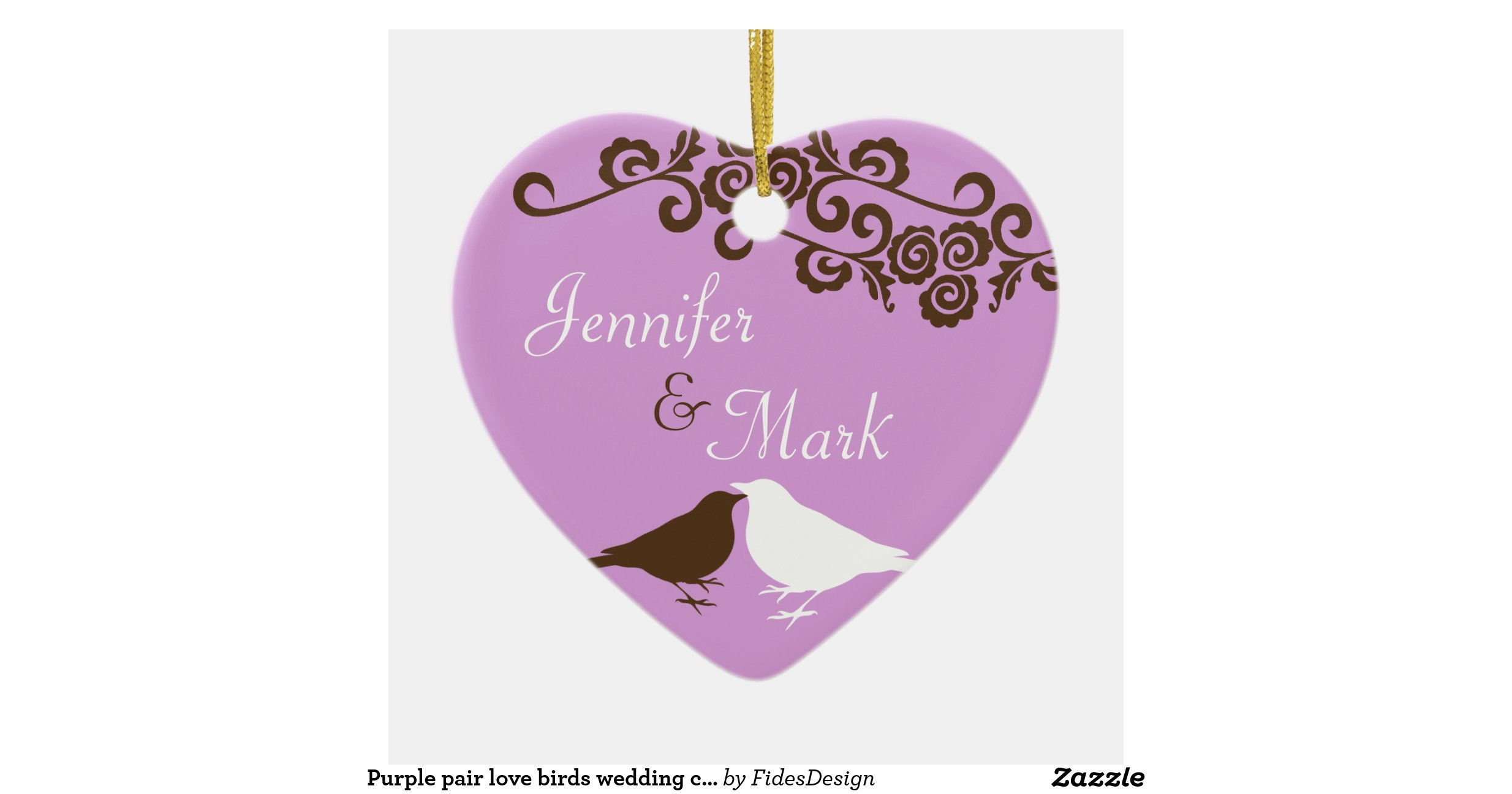 Purple Pair Love Birds Wedding Couple First Ceramic Heart