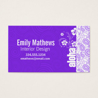 Purple Paisley; Aloha, Hibiscus Business Card