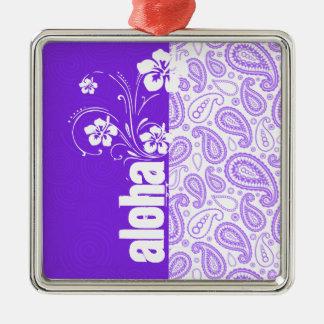 Purple Paisley; Aloha, Hibiscus Silver-Colored Square Decoration