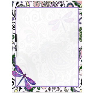 Purple paisley and dragonfly dry erase board