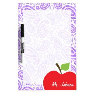 Purple Paisley; Apple for Teacher Dry-Erase Boards