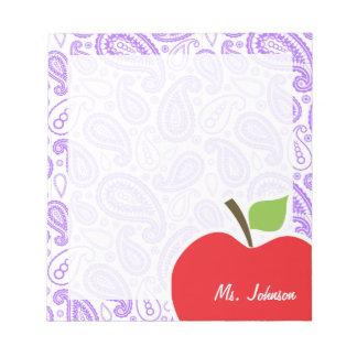 Purple Paisley; Apple for Teacher Notepad