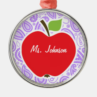 Purple Paisley; Apple for Teacher Silver-Colored Round Decoration