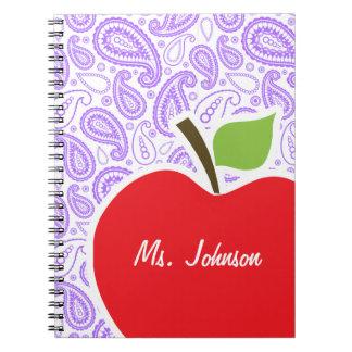 Purple Paisley; Apple for Teacher Spiral Notebooks