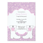 Purple Paisley Cowgirl Boots Birthday Party Personalized Announcements