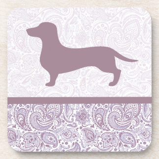 Purple Paisley Dachshund Drink Coaster Wiener Dog