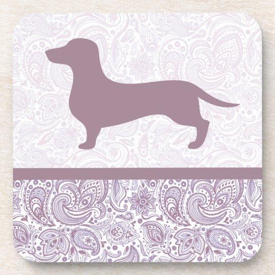 Purple Paisley Dachshund Drink Coaster Wiener Dog