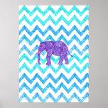 Purple Paisley Elephant Girly Teal Glitter Chevron Posters
